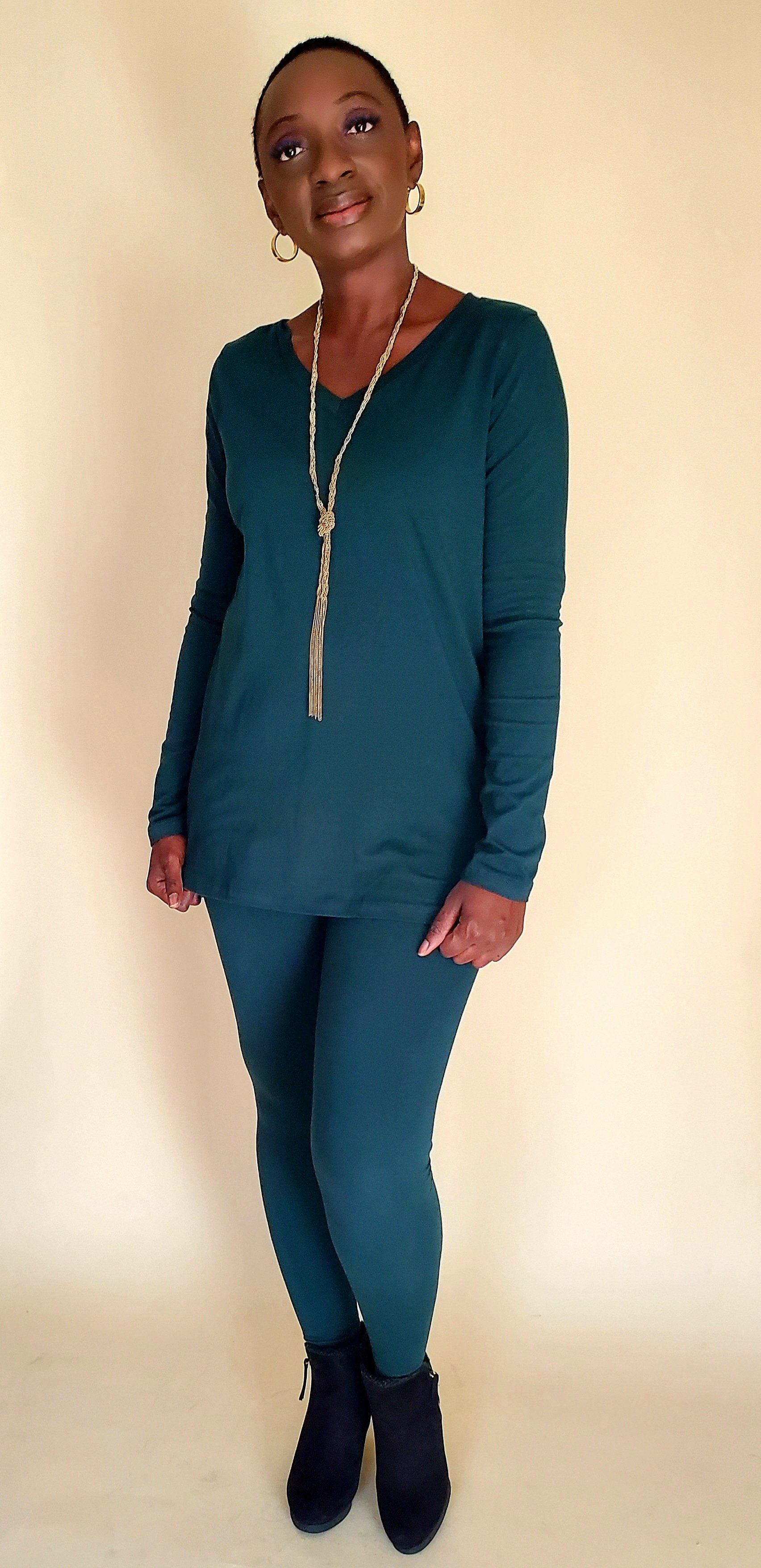 Essential V-Neck Legging Set (Hunter Green)