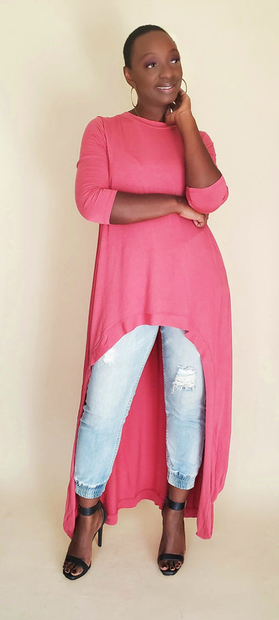 Angie | High Low TUNIC (Rose)