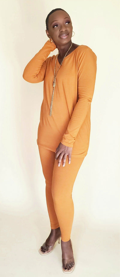 Essential V-Neck Legging Set (Almond)