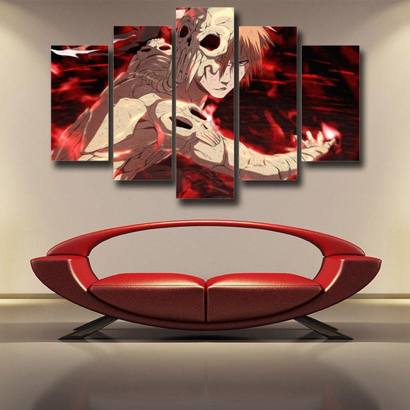 Bleach Ichigo Scary Hollow Form Bloody Red 5pcs Canvas Print