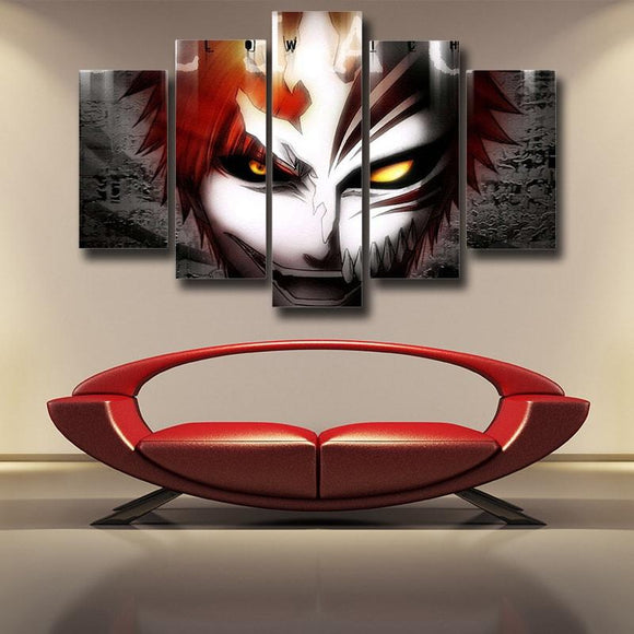 Bleach Ichigo Smirking With Deadly Glare 5pcs Canvas Print