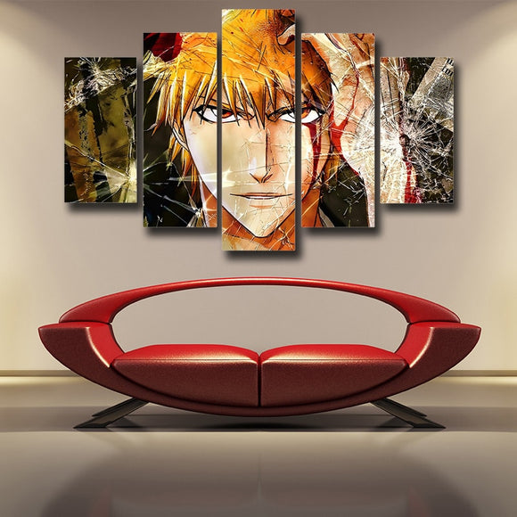 Bleach Ichigo Portrait Cracked Design Cool 5pcs Canvas Print