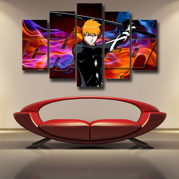 Bleach Ichigo With Sword Colorful Vibrant 5pcs Canvas Print