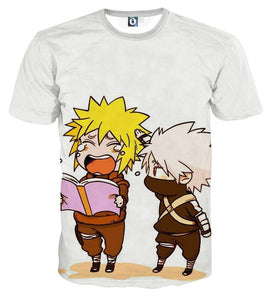 Naruto Japan Anime Minato And Kakashi Chibi Cute T-Shirt