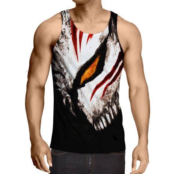 Bleach Ichigo Face Mask Art Drawing Streetwear Tank Top - Konoha Stuff