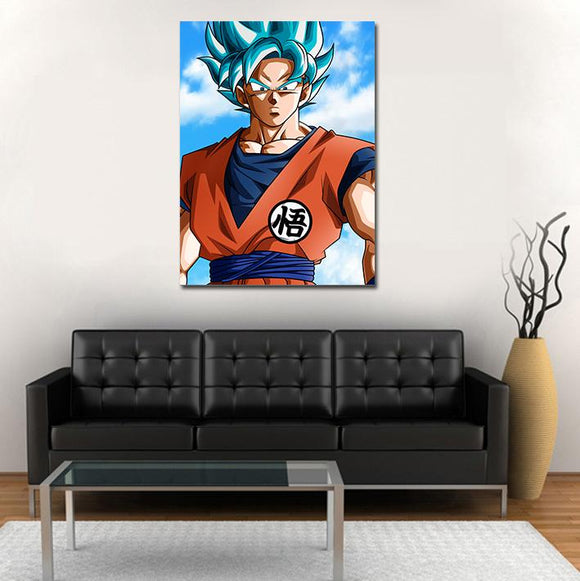 Super Saiyan God Serious Goku Blue 1pc Wall Art Canvas Print