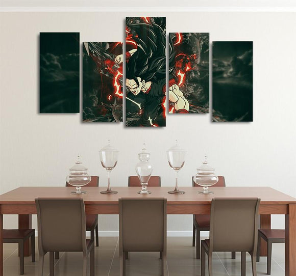 Vegito Dark Super Saiyan 3 Asymmetrical 5pcs Wall Art Canvas Print