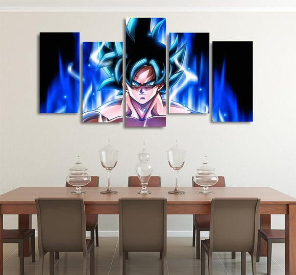 Goku Mastered Ultra Instinct Asymmetrical 5pcs Wall Art Canvas Print