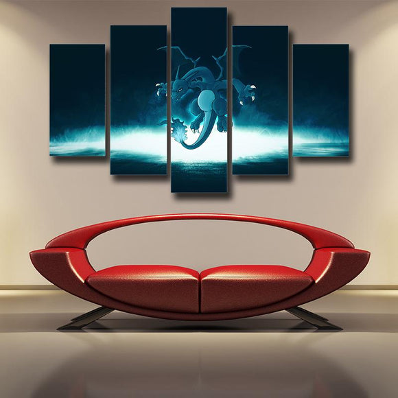 Pokemon Go Cool Shiny Black Charizard 5pcs Canvas Print