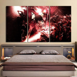 Fairy Tail Erza Scarlet Serious Aura Red 3pcs Canvas Print