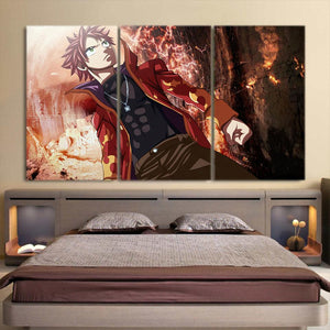Fairy Tail Handsome Natsu Intimidating Look 3pcs Canvas Print