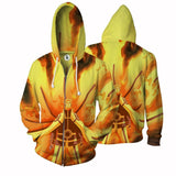 Naruto Nine-Tails Chakra Mode Vibrant Design Zip Up Hoodie