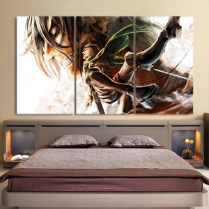 Attack On Titan Levi And Eren Titan Battle 3pcs Canvas Print