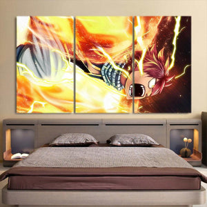 Fairy Tail Yelling Natsu Angry Vibrant 3pcs Canvas Print