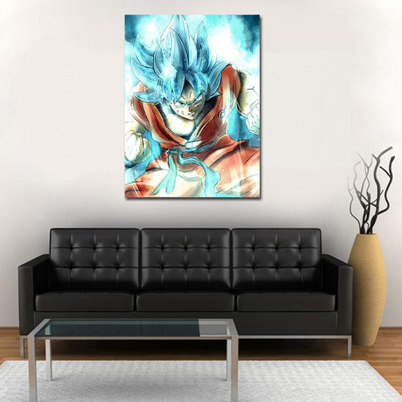 Super Saiyan God Goku Blue Vibrant Aura 1pc Wall Art Canvas Print