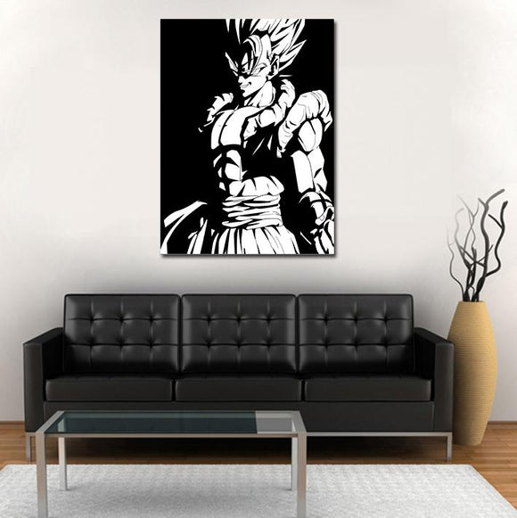 Grinning Gogeta Black White Minimalist 1pc Wall Art Canvas Print