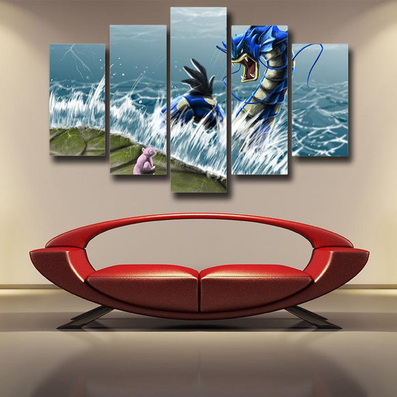 Pokemon Gyarados Scaring Ratata Awesome Fan Art 5pcs Canvas Print