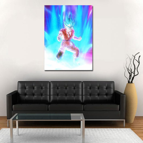 Goku Super Saiyan Blue Kaioken Transformation 1pc Wall Art Canvas Print