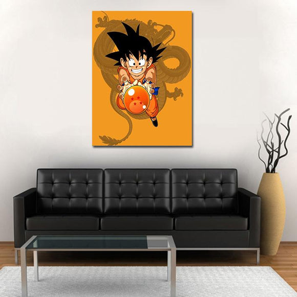 DBZ Adorable Kid Goku Shenron Orange 1pc Wall Art Canvas Print