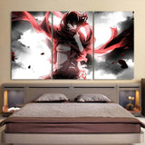 Attack On Titan Sad Mikasa With Red Scarf 3pcs Canvas Print