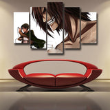 Attack on Titan Levi And Eren Titan Form 5pcs Canvas Print