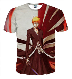 Bleach Ichigo Shinigami Hollow Mask Pattern Dope T-Shirt