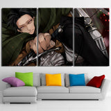 Attack On Titan Levi Ackerman Deadly Look 3pcs Canvas Print