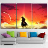 Fairy Tail Natsu And Lucy Back Hug Sunset 3pcs Canvas Print