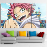 Fairy Tail Natsu Smiling Face Artistic 3pcs Canvas Print