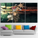 Fairy Tail Natsu Salamander Battle Pose 3pcs Canvas Print