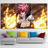 Fairy Tail Natsu Taunt Look Flaming Aura 3pcs Canvas Print