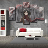 Attack On Titan Mikasa And Giant Colossus 5pcs Canvas Print