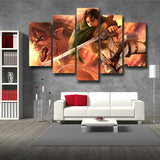 Attack On Titan Levi And Founding Titan 5pcs Canvas Print