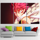 Fairy Tail Natsu Wounded Face Furious Look 3pcs Canvas Print