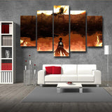 Attack On Titan Levi And Giant Fiery Scene 5pcs Canvas Print