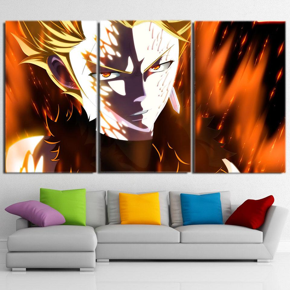 Fairy Tail Laxus Dreyar Dope Hot Flame 3pcs Canvas Print