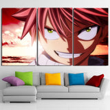 Fairy Tail Natsu Smirk Green Eyes Artistic 3pcs Canvas Print