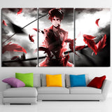 Attack On Titan Levi Salute Red Feathers 3pcs Canvas Print