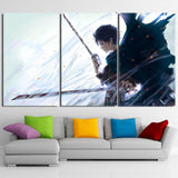 Attack On Titan Sad Eren With Bloody Sword 3pcs Canvas Print
