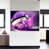 Pokemon Legendary Mewtwo Transparent Masterball 1pc Canvas Print