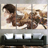 Attack On Titan Floating Levi Survey Corps 3pcs Canvas Print