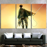 Attack On Titan Levi Back View Sunset Sky 3pcs Canvas Print