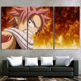 Fairy Tail Pissed Natsu Orange Flame Aura 3pcs Canvas Print