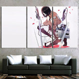 Attack On Titan Mikasa With Weapons Salute 3pcs Canvas Print