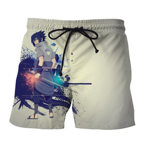 Sasuke Uchiha Art Work Design Japan Anime Dope Beach Shorts