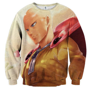 One-Punch Man Saitama Fan Art Portrait Stylish Print Sweatshirt - Konoha Stuff