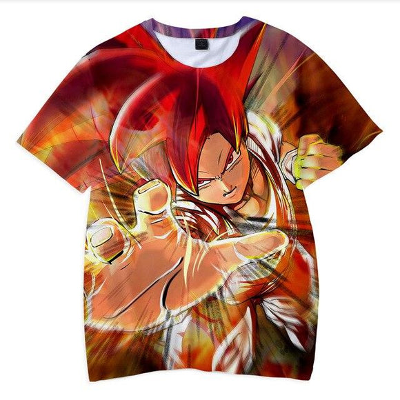 Dragon Ball Z Son Goku Super Saiyan God Red Hair Kids T-Shirt