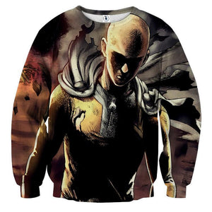One-Punch Man Badass Saitama Black Theme Full Print Sweatshirt - Konoha Stuff