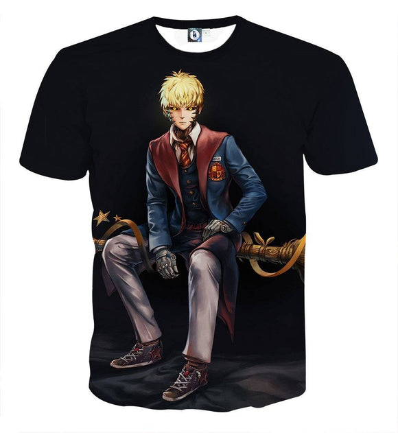 One-Punch Man Genos Harry Potter Black 3D Print T-shirt - Konoha Stuff