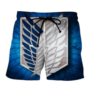 Attack On Titan Scout Regiment Blue And White Symbol Short - Konoha Stuff